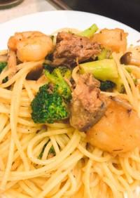 サヴァ缶のアヒージョ風スパゲティ