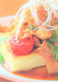 豚バラ肉と木綿豆腐のガーリックステーキ