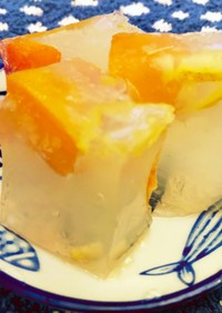 アプリコットと柚子ジャム炭酸割り寒天