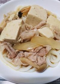 栄養満点!豚バラ豆腐野菜のあんかけうどん
