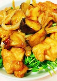 鶏モモとナスの甘ポン酢炒め