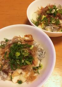 角切り長芋とシラスの麺つゆがけ
