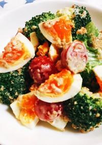半熟卵とブロッコリーのごまマヨサラダ