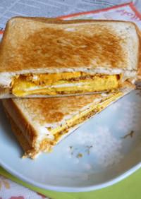 粒入りマスタード+卵焼きのホットサンド