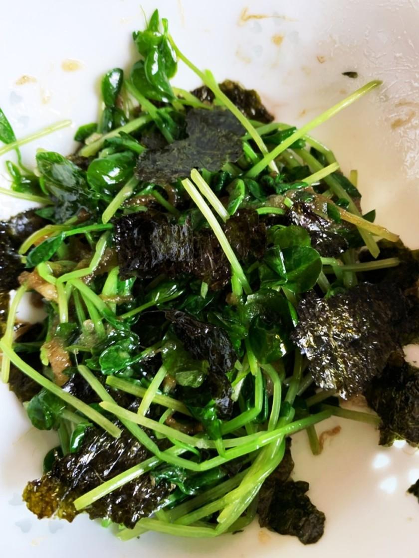【減塩】豆苗と海苔のにんにくナムル