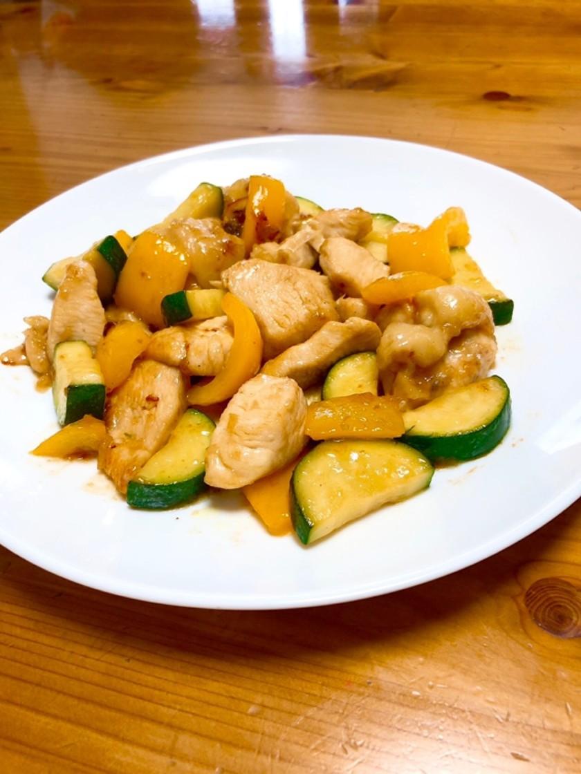 鶏肉とズッキーニとパプリカのマヨポン炒め