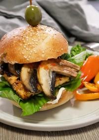 マッシュルームと豆腐のハンバーガー