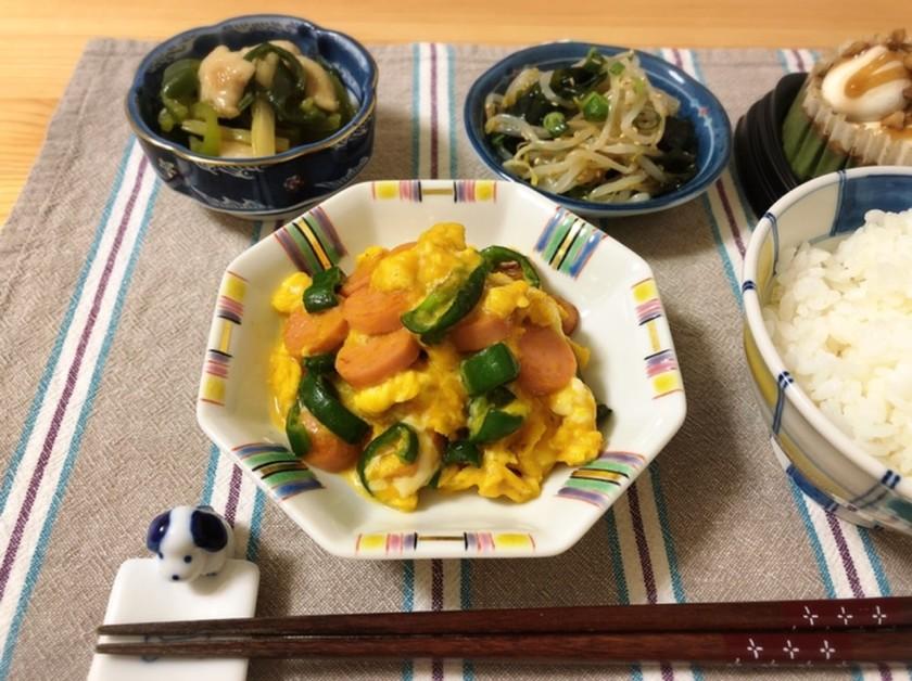 魚肉ソーセージの中華風オムレツ