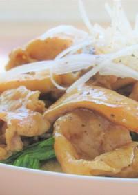 豚バラ肉とエリンギとチンゲン菜の中華炒め