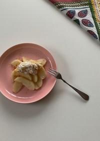 リンゴのコンポートカッテージチーズのせ