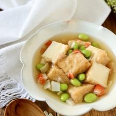 厚揚げと枝豆とカニカマの白だし煮