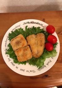 白身魚のバジルオイル漬けのフライ