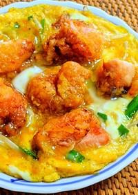 鶏の唐揚げもやしニラ玉 & 丼