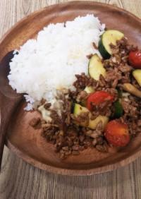 夏野菜とひき肉の和風カレー炒め