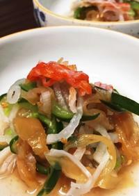 クラゲのきゅうり大根の梅肉酢