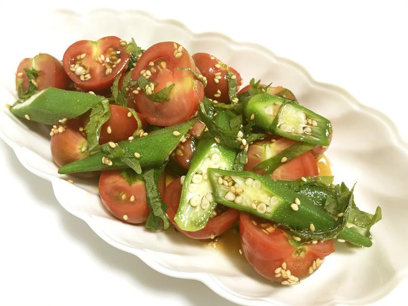 ミニトマトとオクラの和風サラダ