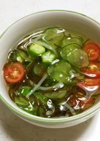 暑い日にピッタリ☆冷製もずく酢スープ