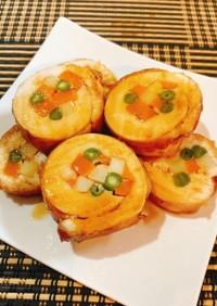 ☆三色野菜と鶏胸肉のロール焼き☆