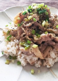 豚バラと長ねぎで簡単美味しいねぎ塩豚丼♡