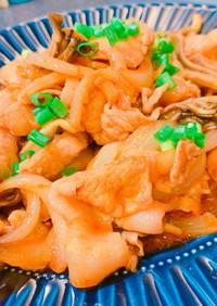 豚バラ肉と玉ねぎ、舞茸のピリ辛炒め