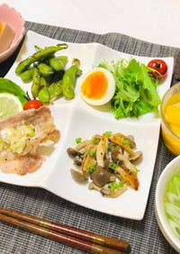 ネギ塩カルビ・豚バラ肉メインの夕飯
