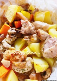 オーブン鶏肉ポテト野菜のぎゅうぎゅう焼き