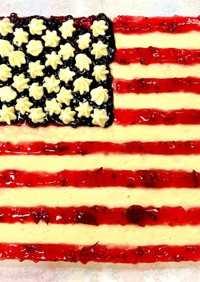 アメリカ国旗のベイクドチーズケーキ