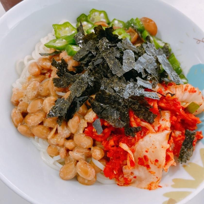 暑い夏に!納豆とオクラのネバネバ素麺