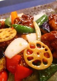 鶏と野菜の黒酢あん♪
