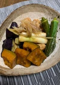 簡単おつまみ☆夏野菜と鶏肉の揚げ浸し