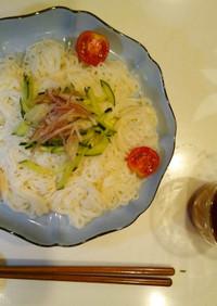 素麺のトマト変わりつゆ