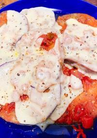 丸茄子のサルサチーズ焼き