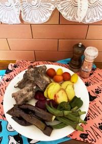 柔らかスペアリブと季節の焼き野菜
