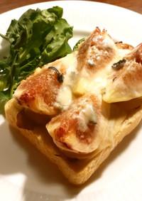 ハム、いちじく、3種類のチーズトースト