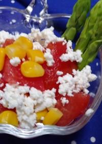 簡単副菜レンジでアスパラ塩オリーブサラダ
