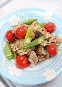 彩り夏野菜と豚肉のさっぱり中華炒め