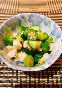 ☆オクラ、長芋、きゅうり、梅の和え物☆