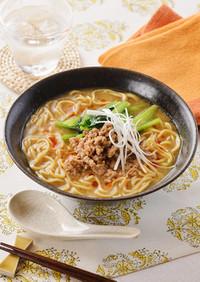 レンチン肉味噌の簡単担々麺