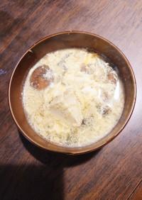 刻み大葉と厚揚げのかきたまスープ