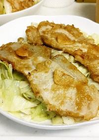 豚ロース生姜焼きにざく切りキャベツ丼。