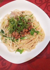 水菜とツナのあっさり納豆パスタ