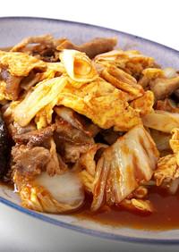 白菜と白ネギと豚肉の卵炒めケチャップ風味