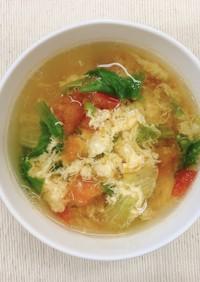 トマトとレタスのかき玉スープ