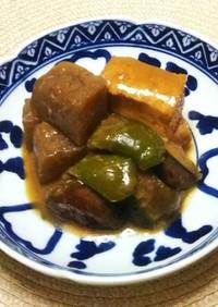 厚揚げと蒟蒻・茄子・ピーマンの味噌煮