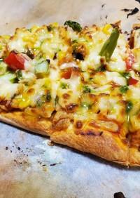 夏野菜のナンピザ