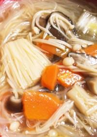 超楽々 中華きのこ春雨スープ 作ります