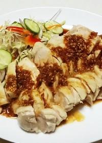 ボイル鶏もも肉(+生姜たっぷりタレ)