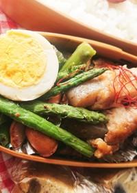 お弁当★アスパラとソーセージ岩塩炒め