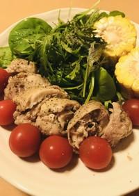 冷凍鶏肉の約1時間弱火で茹で戻し&サラダ