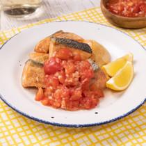 鮭のはちみつレモンサルサソース